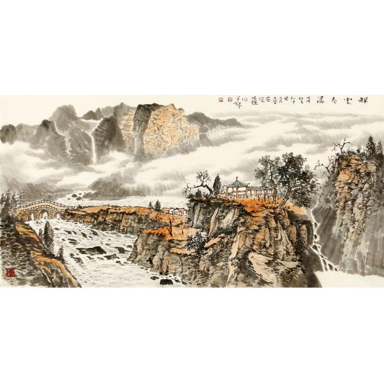 实力派画家李焕辉四尺横幅写意山水画作品《祥云飞瀑》
