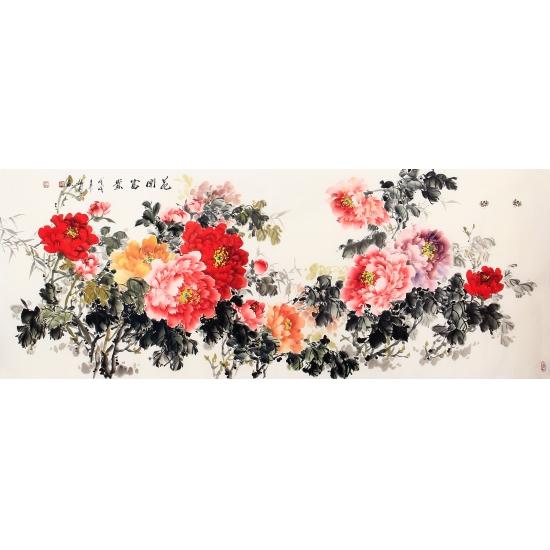 客厅装饰画 张利新品富贵牡丹图《花开富贵》