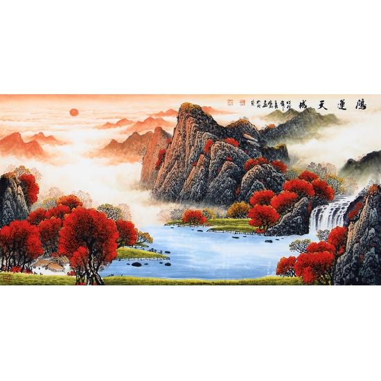 聚宝盆山水画 陈厚刚四尺横幅山水画作品《鸿运天成》