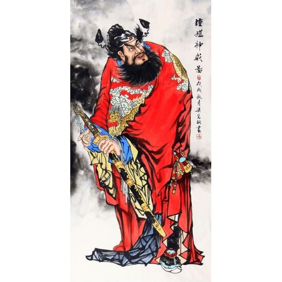 钟馗画 梁宪钢四尺竖幅人物画作品《钟馗神威图》