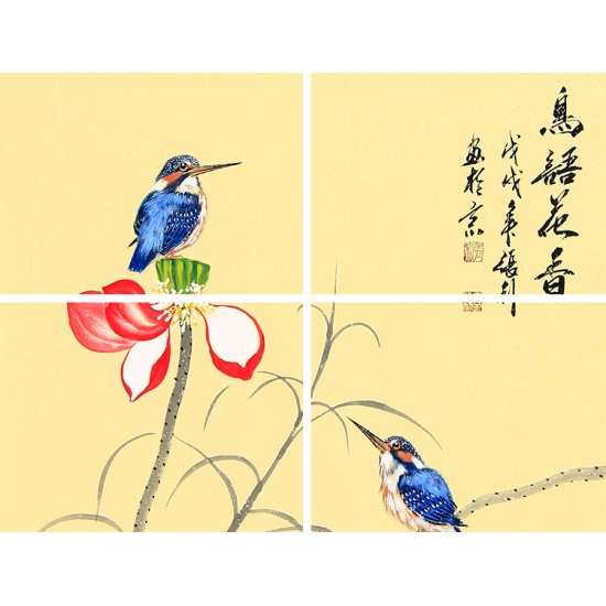 张利工笔花鸟画国画荷花图《鸟语花香》