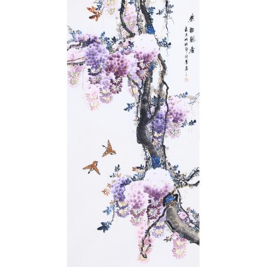 家居装饰画作品 许墨写意花鸟画紫藤图《紫玉飘香》