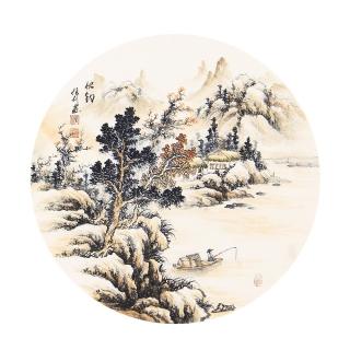 国礼艺术家 张利小尺寸山水画作品秋钓》