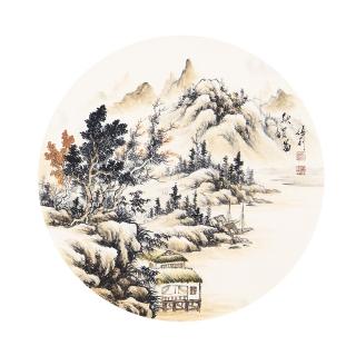 卧室装饰画 张利小尺寸山水画作品《秋韵图》