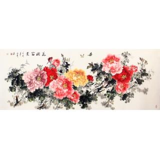 家居挂画 张利六尺牡丹图《花开富贵》