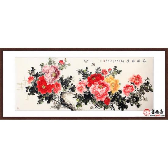 张利六尺横幅新品牡丹图《花开富贵》