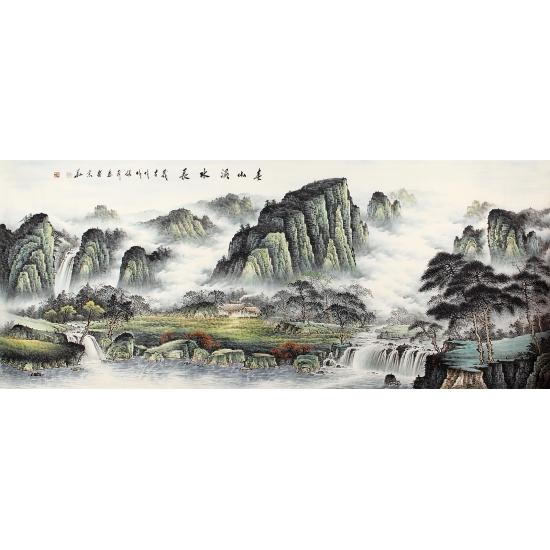 张利新品八尺横幅山水画《春山溪水长》