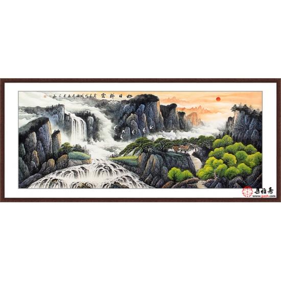 客厅山水画 张利八尺横幅国画山水作品《旭日祥云》