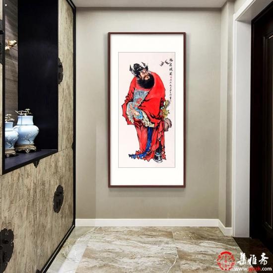 钟馗画 梁宪钢四尺竖幅人物画作品《福在眼前》
