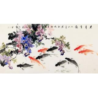 旺财风水画 石云轩四尺横幅写意花鸟九鱼图《连年有余》