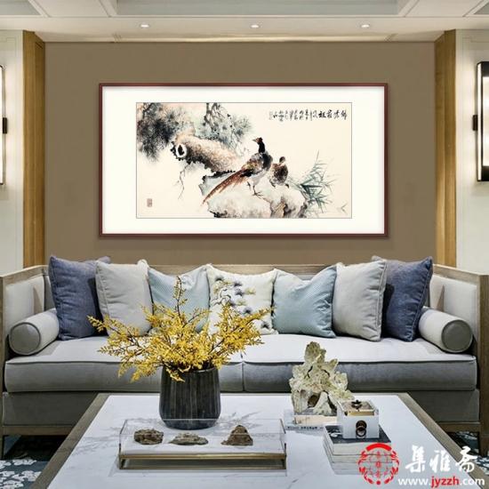 客厅卧室装饰推荐 石云轩四尺横幅写意花鸟画锦鸡图《锦绣前程》
