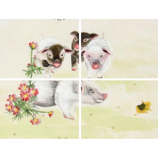 宋建英四尺竖幅动物画作品十二生肖系列猪《招财进宝》