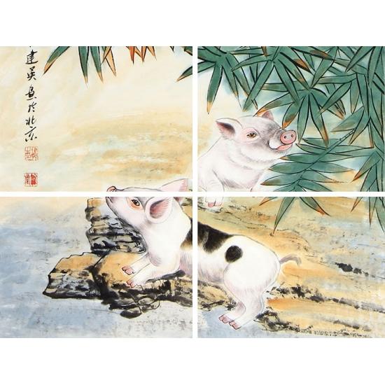 十二生肖画 宋建英动物画作品《招财进宝》