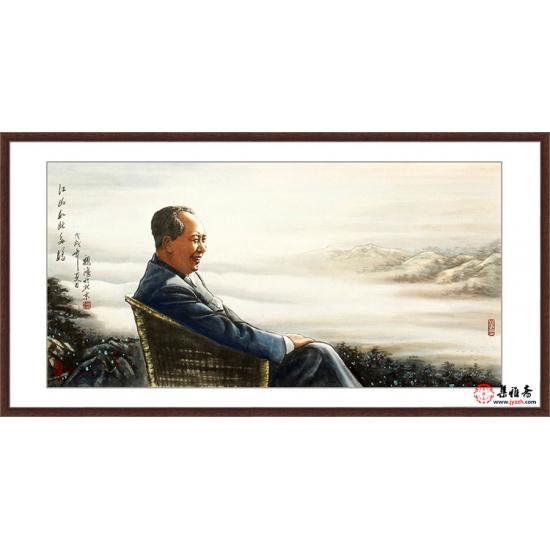 国画伟人像 魏鸿人物画作品《江山如此多娇》