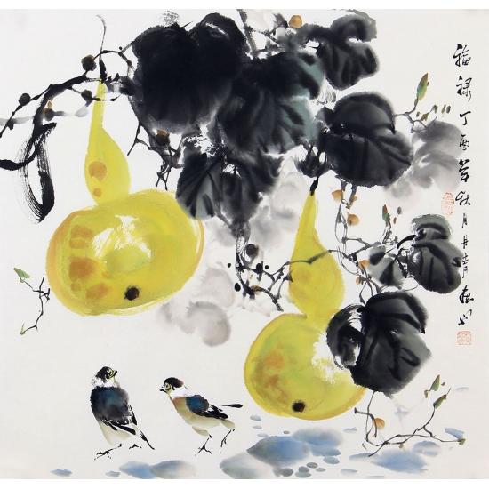 周丹青新品写意花鸟画葫芦图《福禄》