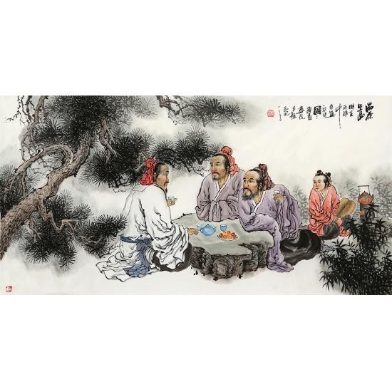 河南美协 刘中芬四尺人物画作品《品茶图》