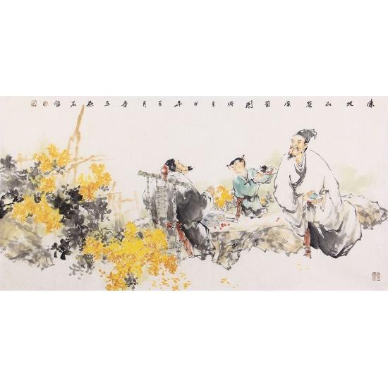 江苏美协石慵四尺人物画《东坡品茶赏菊图》