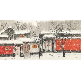 【已售】家居装饰画 东美四尺横幅山水画作品《冬雪》