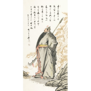 【已售】叶厚臣最新力作四尺竖幅写意人物画《关公神威》
