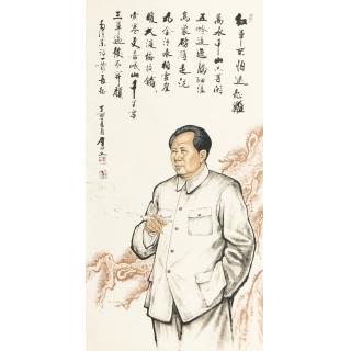 【已售】叶厚臣四尺竖幅人物画作品毛主席《红军不怕远征难》肖像画