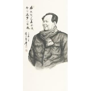 【已售】国画伟人像 叶厚臣人物画作品《毛主席肖像》