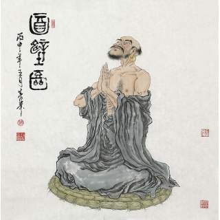 【已售】赵春华四尺斗方人物画《达摩祖师面壁图》
