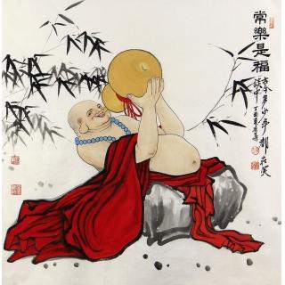 【已售】精品佛像画 赵春华四尺斗方人物画《常乐是福》