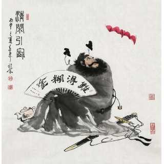 【已售】实力派画家赵春华四尺斗方人物画《钟馗》