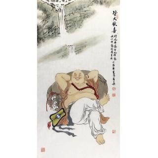 【已售】赵春华三尺竖幅佛像人物画作品《皆大欢喜》