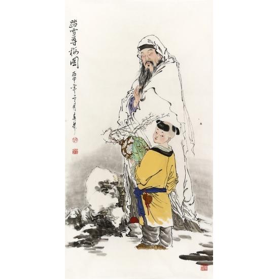 【已售】赵春华三尺竖幅人物画《踏雪寻梅图》