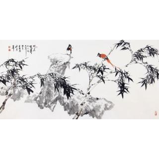 王占海四尺横幅花鸟画国画竹子《竹石双寿》