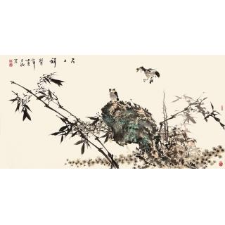 王占海四尺横幅花鸟作品《石上祥聲》