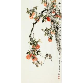 【已售】王占海四尺竖幅花鸟作品《秋时正浓时》