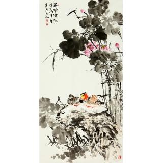 【已售】王占海四尺竖幅花鸟作品《荷塘双栖》