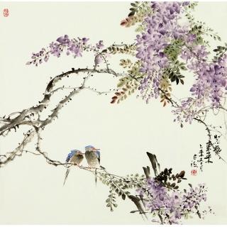 【已售】王占海四尺斗方花鸟作品《紫气东来》
