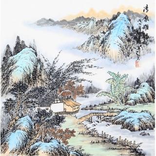 精美仿古斗方画 阎宝珍新山水画作品《清泉雅韵》