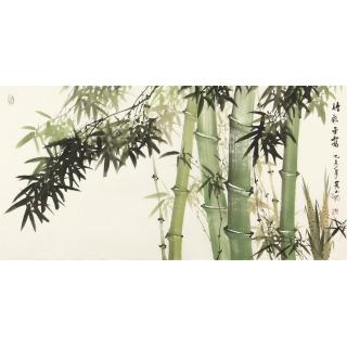 客厅装饰画 吴山雨四尺横幅竹子图《竹报平安》