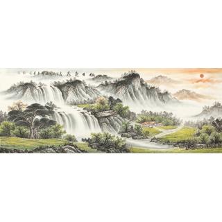 【已售】家中经典挂画 张利六尺横幅山水画《旭日东升》