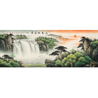 【已售】名人字画 张利最新力作聚宝盆山水画作品《山高水长流》