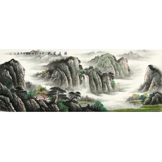 【已售】书画国礼艺术家 张利聚宝盆山水画作品《源远流长》