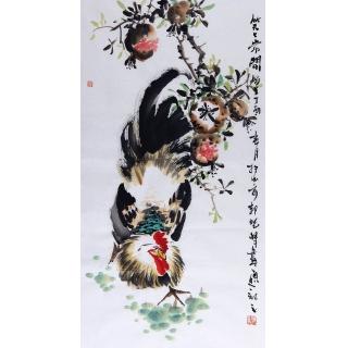 实力派画家郭晓峰三尺竖幅写意花鸟画《笑口常开》