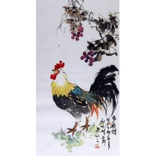 名人字画 郭晓峰三尺竖幅写意花鸟画《多福图》