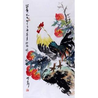 祝寿图 郭晓峰三尺竖幅写意花鸟画《富贵大吉》
