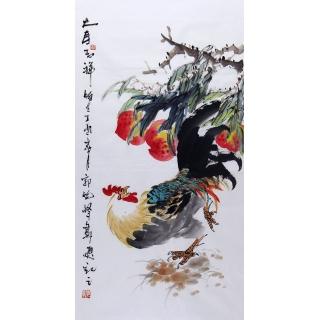 名家书画 郭晓峰三尺竖幅写意花鸟画《大寿吉祥》