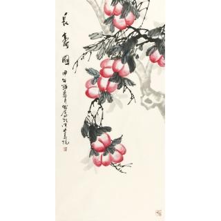 【已售】祝寿首选 李守仁四尺竖幅国画寿桃图《长寿图》