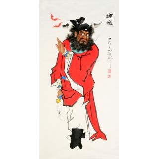 【已售】秦敬斌四尺竖幅人物画《钟馗纳福》