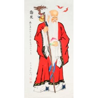 秦敬斌四尺竖幅人物画《寿星》