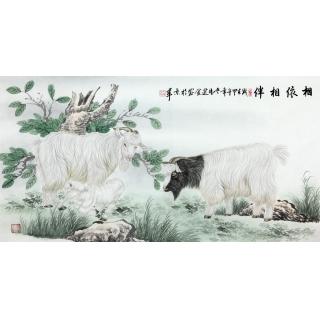 王建金四尺横幅工笔动物画 羊《相依相伴》