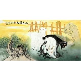 王建金四尺工笔动物画《三羊开泰》