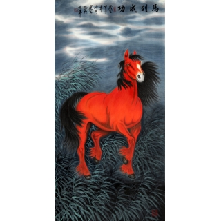 名家字画 王建金四尺竖幅动物画《马到成功》